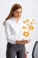 Businesswoman-Engaging-with-Social-Media